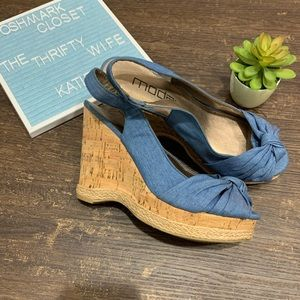 Moda Spana Blue Cloth Upper Cork Wedges Size 8